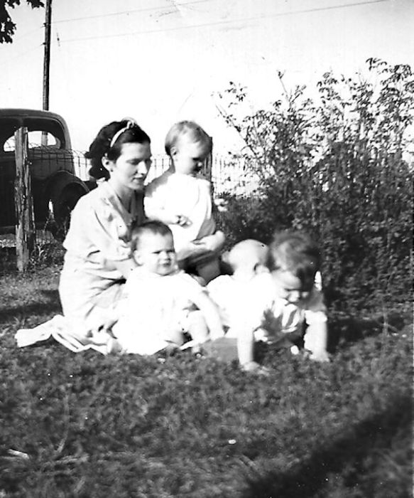 Aunt Louise with all four firstborns.